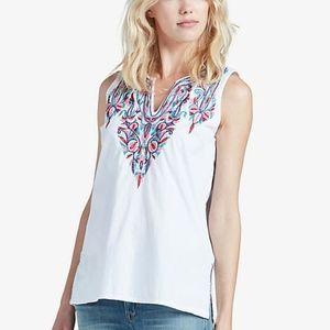 Lucky Brand Sleeveless White Embroidered Tank